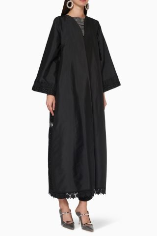 Lace embroidered abayas
